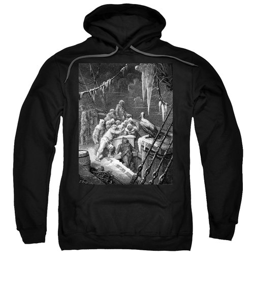 The Albatross Being Fed By The Sailors On The The Ship Marooned In The Frozen Seas Of Antartica Sweatshirt by Gustave Dore