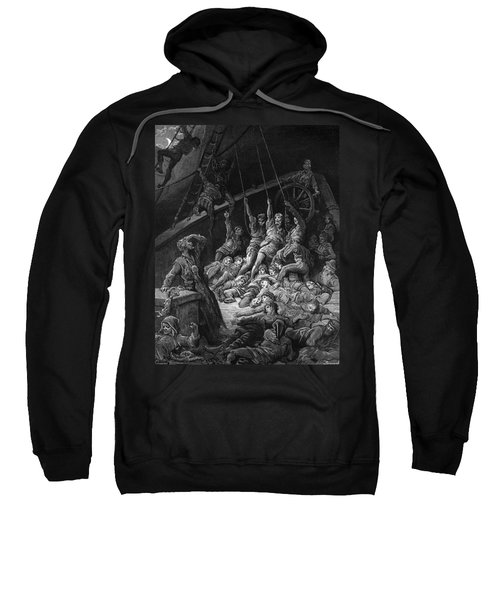 The Dead Sailors Rise Up And Start To Work The Ropes Of The Ship So That It Begins To Move Sweatshirt by Gustave Dore