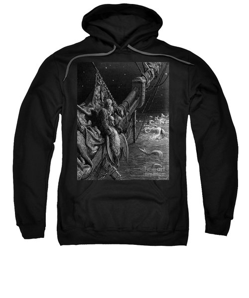 The Mariner Gazes On The Serpents In The Ocean Sweatshirt by Gustave Dore