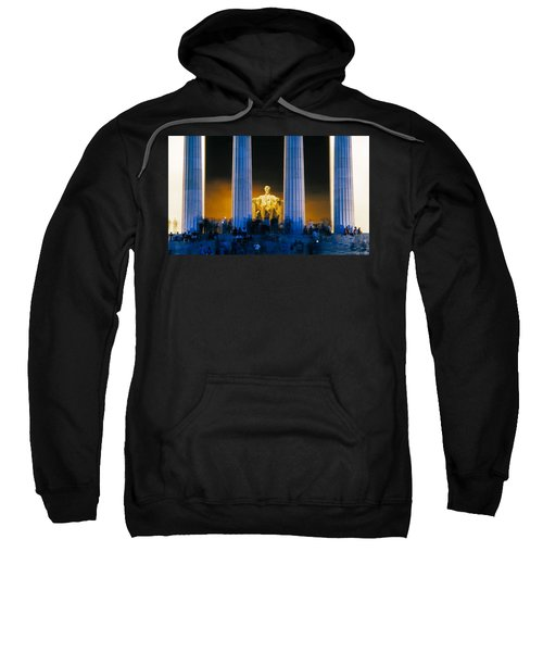 Tourists At Lincoln Memorial Sweatshirt by Panoramic Images