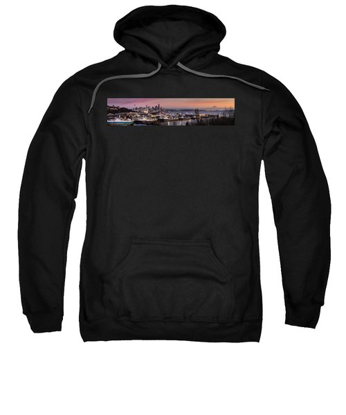Wider Seattle Skyline And Rainier At Sunset From Magnolia Sweatshirt by Mike Reid