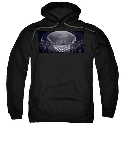 Wrigley Field Night Game Chicago Bw Sweatshirt by Steve Gadomski