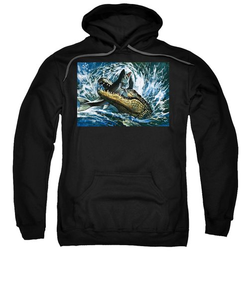 Alligator Eating Fish Sweatshirt by English School