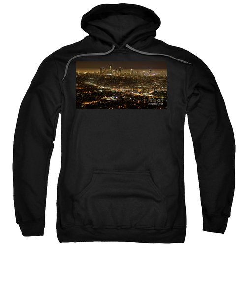 Los Angeles  City View At Night  Sweatshirt by Bob Christopher