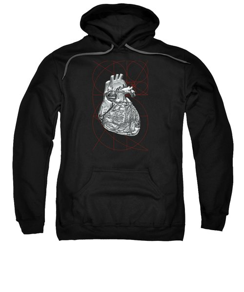 Silver Human Heart On Black Canvas Sweatshirt by Serge Averbukh