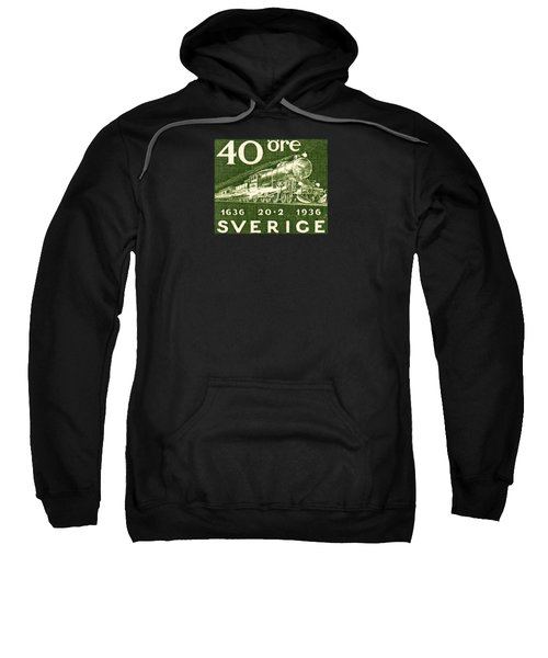 1936 Swedish Railroad Stamp Sweatshirt by Historic Image