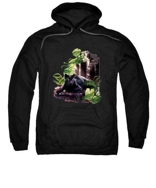 Black Panther Custodian Of Ancient Temple Ruins  Sweatshirt by Regina Femrite