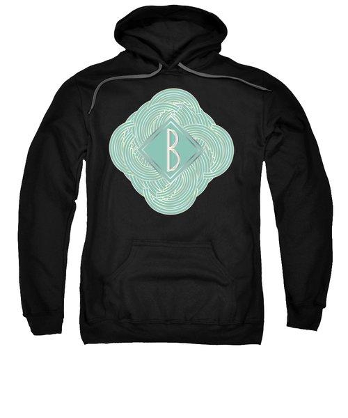 1920s Blue Deco Jazz Swing Monogram ...letter B Sweatshirt by Cecely Bloom