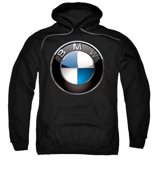 B M W - 3d Badge On Black Sweatshirt by Serge Averbukh