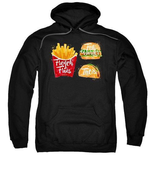Black French Fries Sweatshirt by Aloke Design