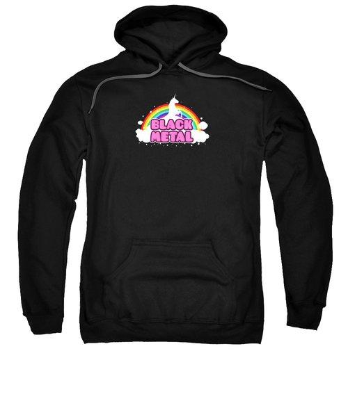 Black Metal Funny Unicorn / Rainbow Mosh Parody Design Sweatshirt by Philipp Rietz