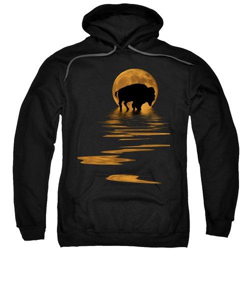 Buffalo In The Moonlight Sweatshirt by Shane Bechler