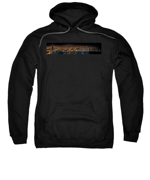 Chicago Skyline At Night Extra Wide Panorama Sweatshirt by Jon Holiday