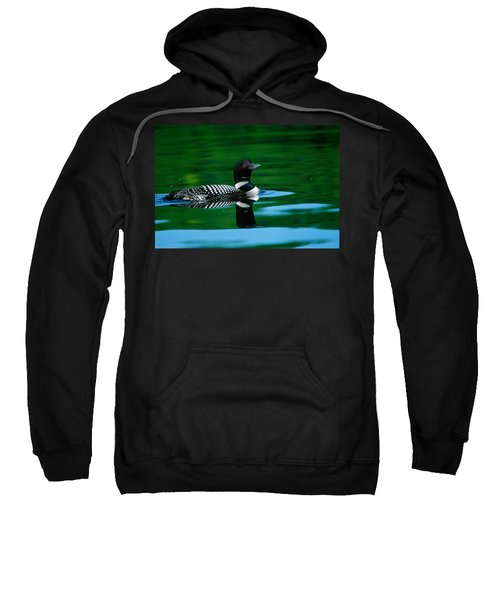 Common Loon In Water, Michigan, Usa Sweatshirt by Panoramic Images