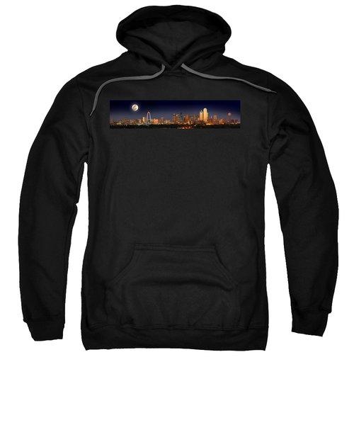 Dallas Skyline At Dusk Big Moon Night  Sweatshirt by Jon Holiday