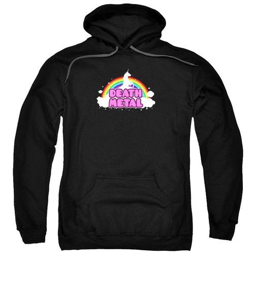 Death Metal Funny Unicorn  Rainbow Mosh Parody Design Sweatshirt by Philipp Rietz