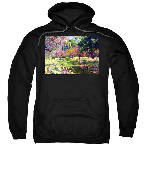 Echoes From Heaven, Spring Orchard Blossom And Pheasant Sweatshirt by Jane Small