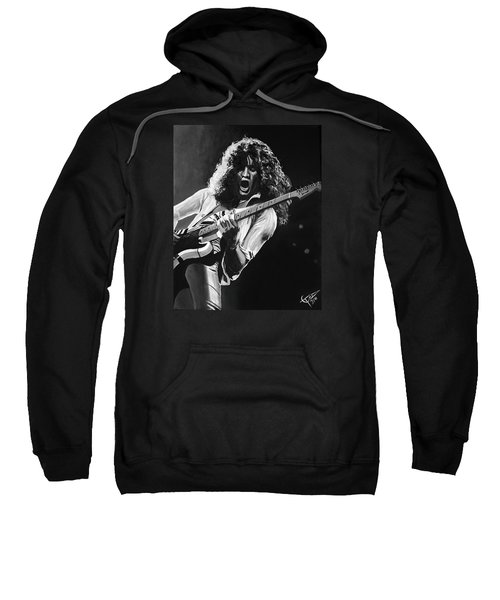 Eddie Van Halen - Black And White Sweatshirt by Tom Carlton