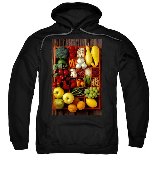 Fruits And Vegetables In Compartments Sweatshirt by Garry Gay