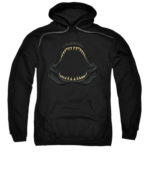 Great White Shark - Black Jaws With Gold Teeth On Black Canvas Sweatshirt by Serge Averbukh