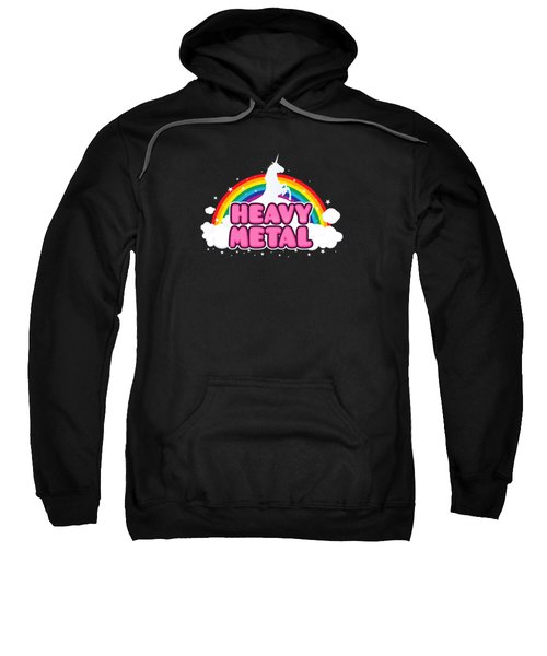 Heavy Metal Funny Unicorn  Rainbow Mosh Parody Design Sweatshirt by Philipp Rietz