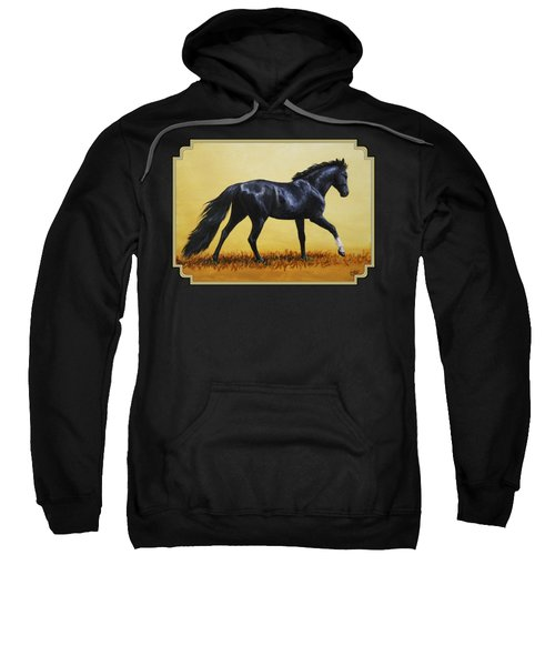 Horse Painting - Black Beauty Sweatshirt by Crista Forest