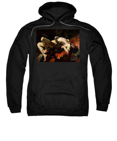 Ixion Thrown Into Hades Sweatshirt by Jules Elie Delaunay
