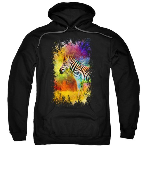 Jazzy Zebra Colorful Animal Art By Jai Johnson Sweatshirt by Jai Johnson