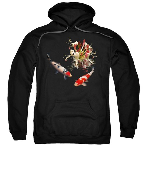 Koi With Honeysuckle Reflections Square Sweatshirt by Gill Billington