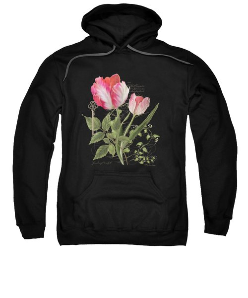 Les Fleurs Magnifiques En Noir - Parrot Tulips Vintage Style Sweatshirt by Audrey Jeanne Roberts