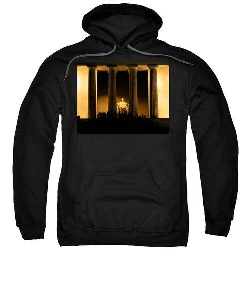 Lincoln Memorial Illuminated At Night Sweatshirt by Panoramic Images
