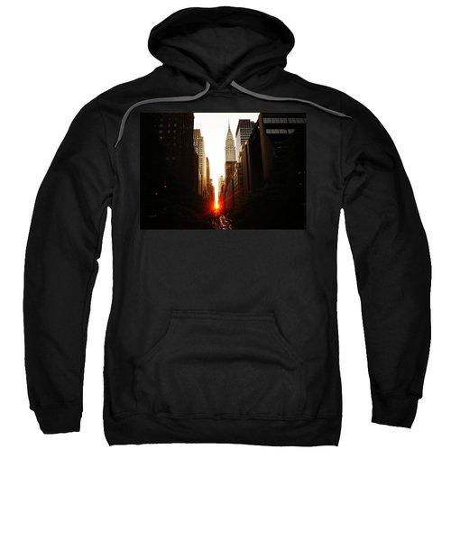 Manhattanhenge Sunset Over The Heart Of New York City Sweatshirt by Vivienne Gucwa