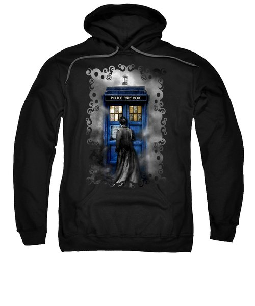 Mysterious Time Traveller With Black Jacket Sweatshirt by Three Second