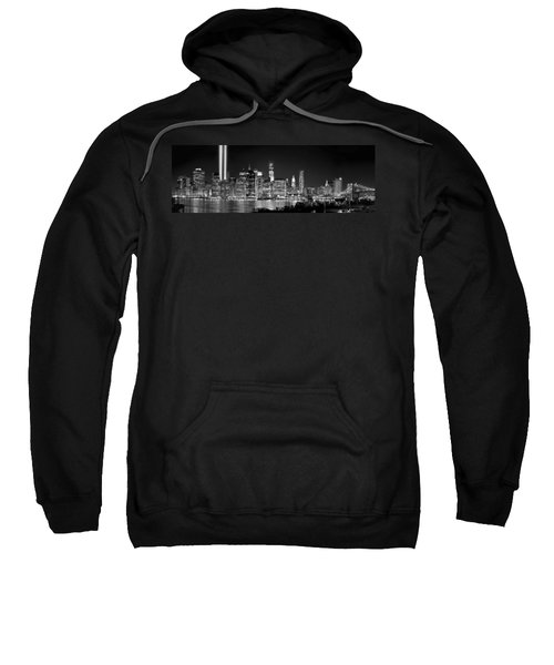New York City Bw Tribute In Lights And Lower Manhattan At Night Black And White Nyc Sweatshirt by Jon Holiday