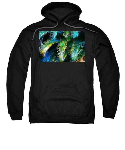 Palm Leaves In Blue Sweatshirt by Karon Melillo DeVega