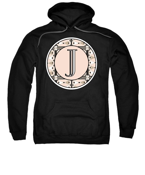 Pink Champagne Deco Monogram  J Sweatshirt by Cecely Bloom
