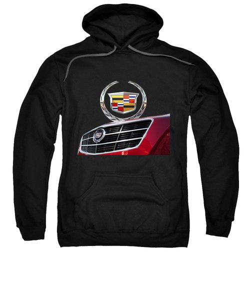 Red Cadillac C T S - Front Grill Ornament And 3d Badge On Black Sweatshirt by Serge Averbukh