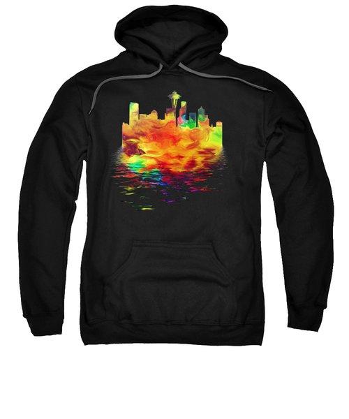 Seattle Skyline, Orange Tones On Black Sweatshirt by Pamela Saville