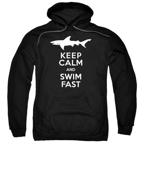 Shark Keep Calm And Swim Fast Sweatshirt by Antique Images