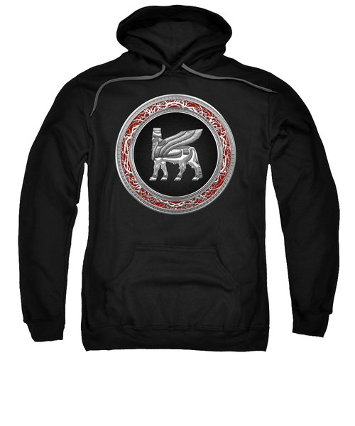 Silver Babylonian Winged Bull  Sweatshirt by Serge Averbukh