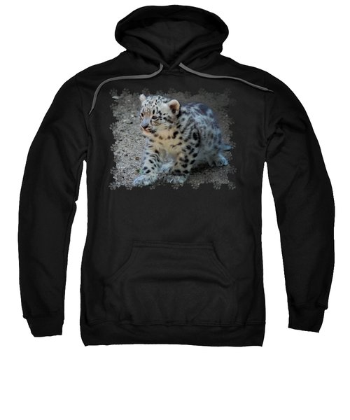 Snow Leopard Cub Paws Border Sweatshirt by Terry DeLuco