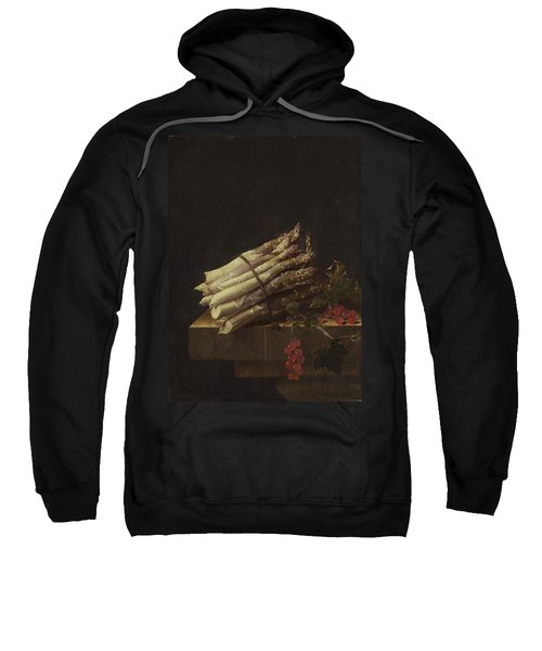 Still Life With Asparagus And Red Currants Sweatshirt by Adriaen Coorte