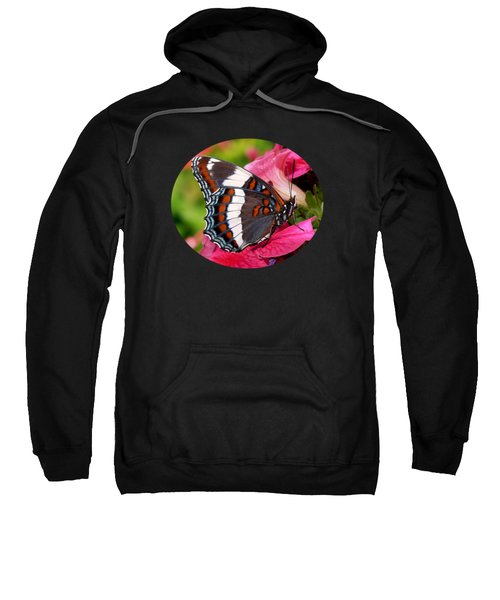 White Admiral Butterfly On Pink Flowers Sweatshirt by Christina Rollo