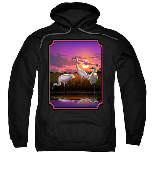 Whooping Cranes Tropical Florida Everglades Sunset Birds Landscape Scene Purple Pink Print Sweatshirt by Walt Curlee