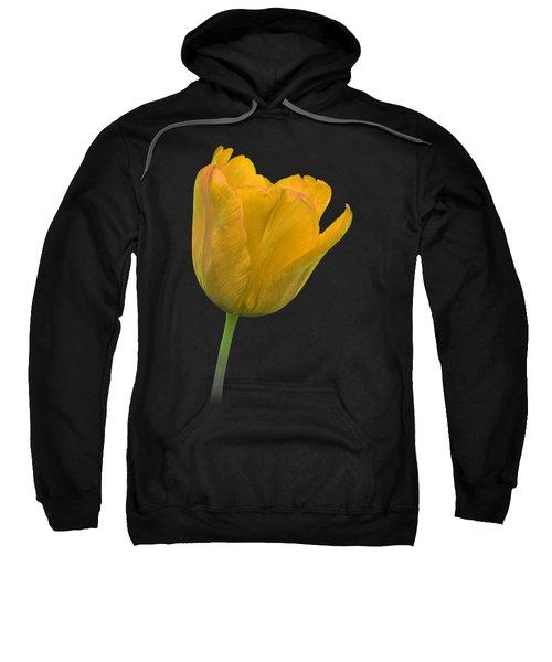 Yellow Tulip Open On Black Sweatshirt by Gill Billington