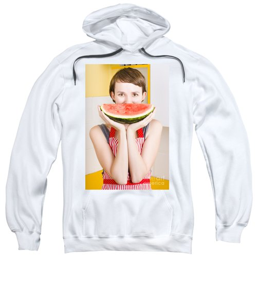 Funny Woman With Juicy Fruit Smile Sweatshirt by Jorgo Photography - Wall Art Gallery