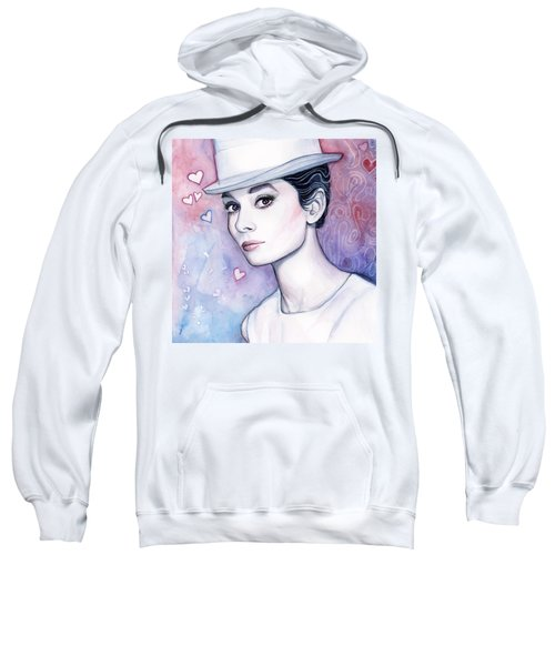 Audrey Hepburn Fashion Watercolor Sweatshirt by Olga Shvartsur