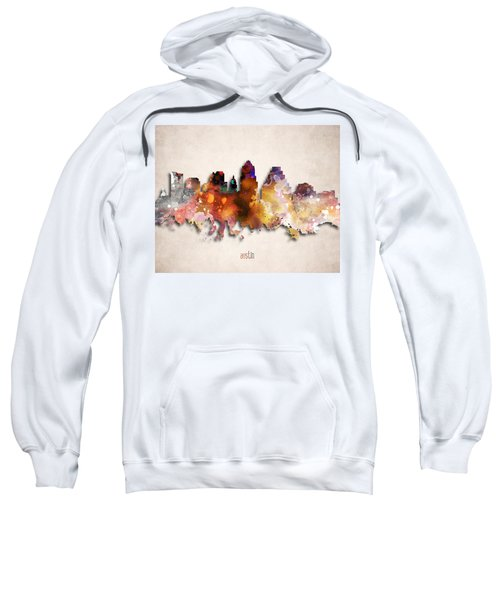Austin Painted City Skyline Sweatshirt by World Art Prints And Designs