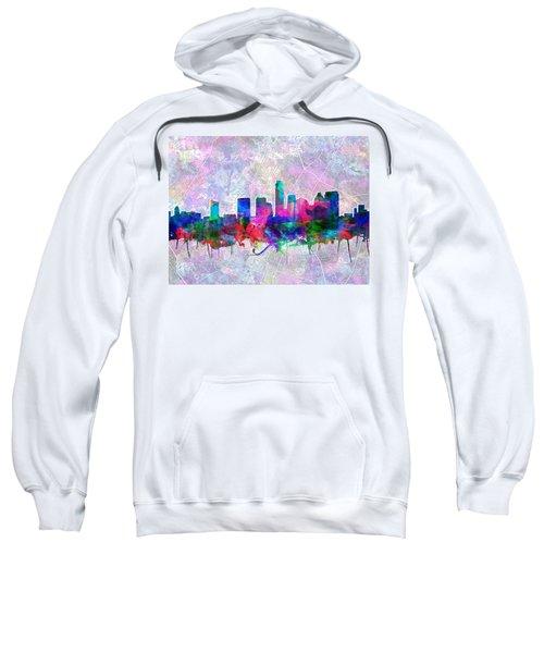 Austin Texas Skyline Watercolor 2 Sweatshirt by Bekim Art