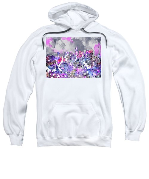 Austin Texas Watercolor Panorama2 Sweatshirt by Bekim Art
